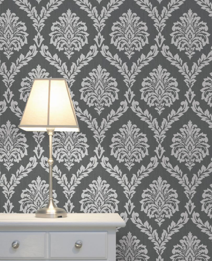 Fine Decor Cavendish Damask Charcoal FD40985 Wallpaper